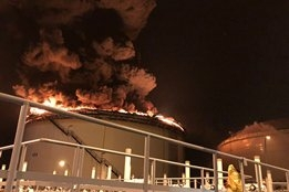 """Raging"" Fuel Oil Storage Fire in Singapore"