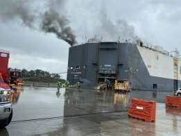 Large Fire Reported on Board Car Carrier in Florida