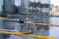 USCG Monitoring Fuel Oil Spill from Sunken Ferry in Boston Harbor